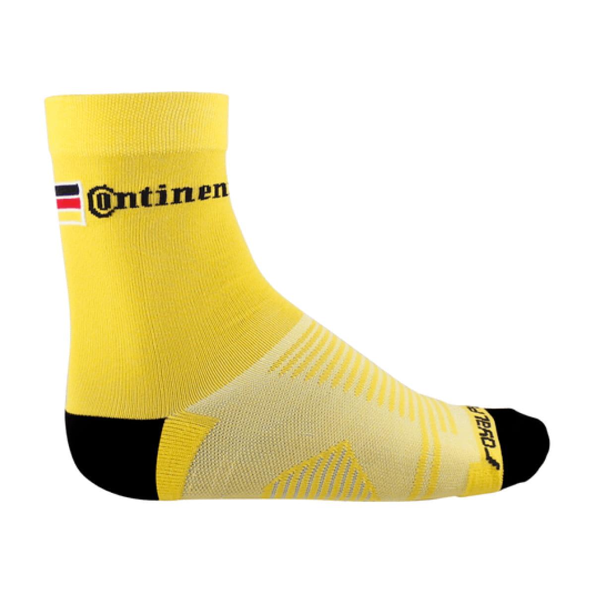 Meia Continental Amarela Logo Preto
