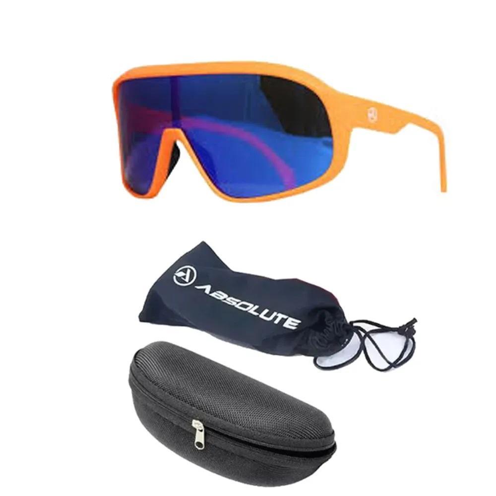 Oculos Ciclismo Absolute Nero Laranja e Lente Azul Polarizado