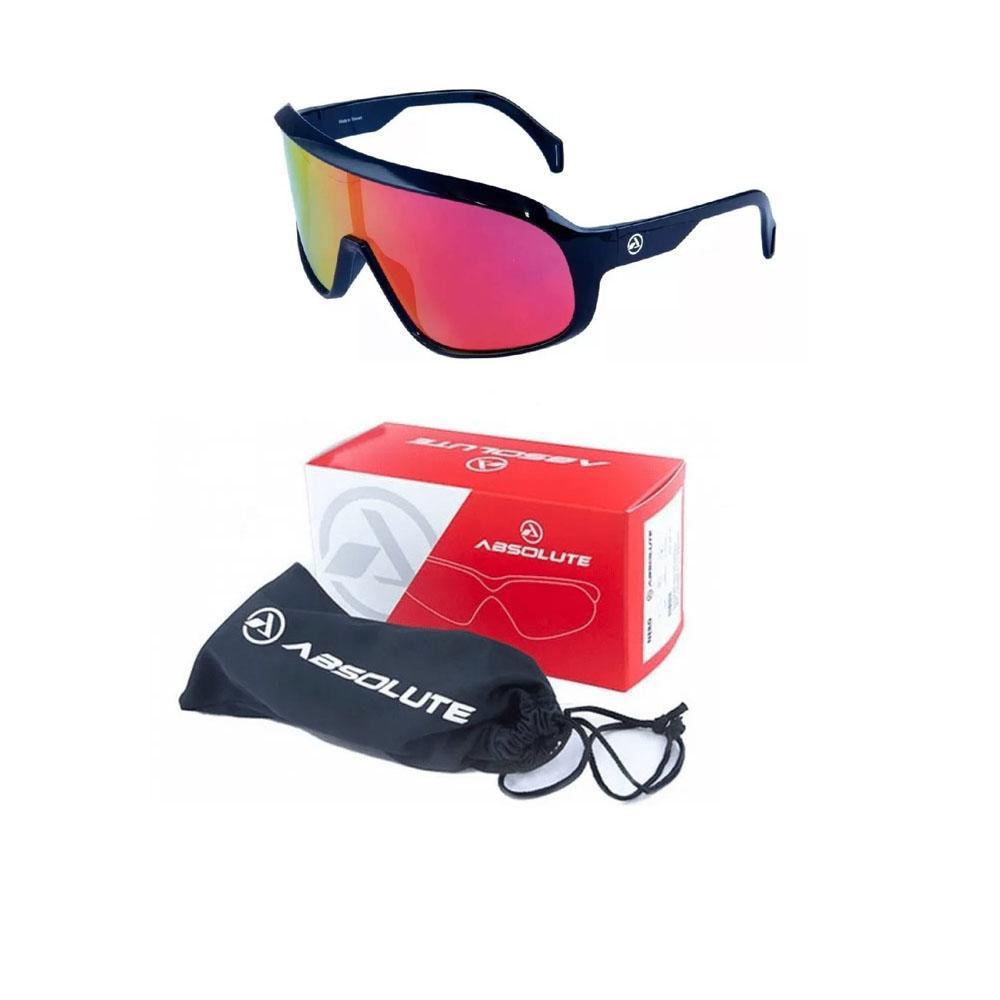 Oculos Ciclismo Absolute Nero Preto Brilhante Vermelho Polarizado