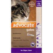 Advocate Gatos 4 a 8kg Combo com 3 unidades (0,8ml cada)