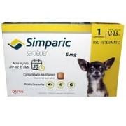 Anti Carrapaticida e Anti Sarnas Simparic Zoetis Cães 1,3kg a 2,5 kg ( 5mg)