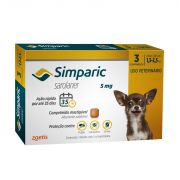 Anti Carrapaticida e Anti Sarnas Simparic Zoetis Cães 1,3kg a 2,5 kg ( 5mg) Com 3 comprimidos