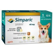 ASSINATURA MENSAL-  Anti Carrapaticida e Anti Sarnas Simparic Zoetis Cães 10,1Kg a 20kg (40mg)