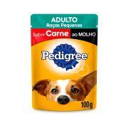 Ração úmida Pedigree sache cães adultos sabor carne Raças Pequenas 100 gramas