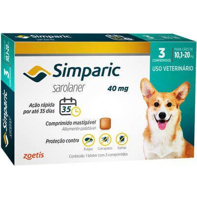 Anti Carrapaticida e Anti Sarnas Simparic Zoetis Cães 10,1Kg a 20kg (40mg)  03 comprimidos