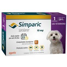 Anti Carrapaticida e Anti Sarnas Simparic Zoetis Cães 2,5kg a 5kg (10mg)