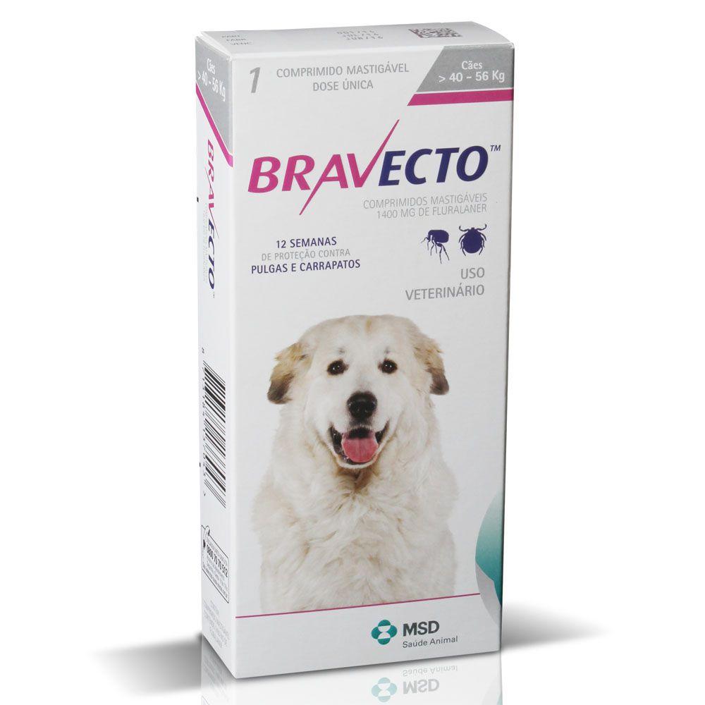 Anti pulgas e anti carrapatos Bravecto 40 a 56kg com 1 comprimido 1400mg