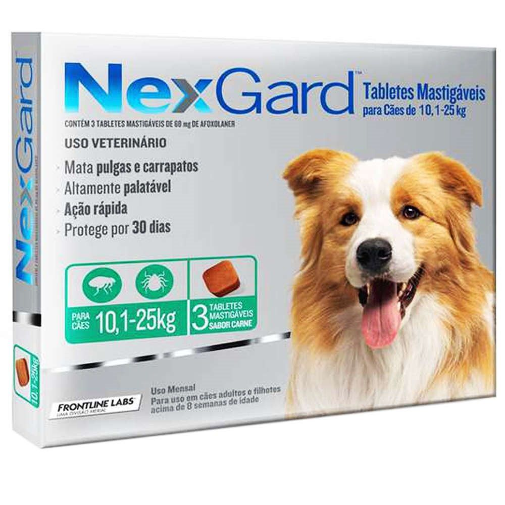 Anti Pulgas e Anti Carrapatos Nexgard Cães 10,1kg a 25kg com 3 comprimidos