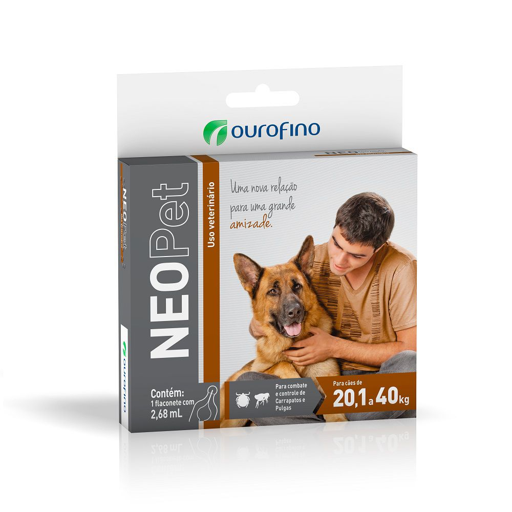 Anti pulgas e carrapatos Neopet Ourofino cães 20,1 a 40kg- 2,68ml