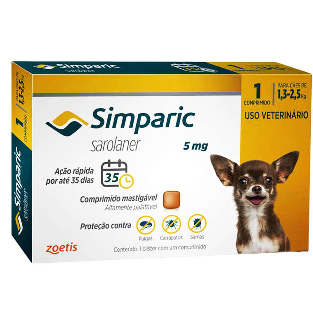 ASSINATURA MENSAL -  Anti Carrapaticida e Anti Sarnas Simparic Zoetis Cães 1,3kg a 2,5 kg ( 5mg)