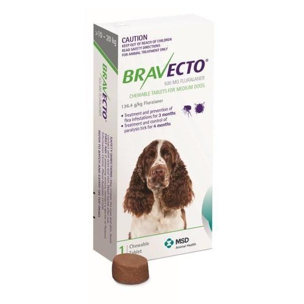 Bravecto 500mg - Para cães de 10,1kg a 20 kg