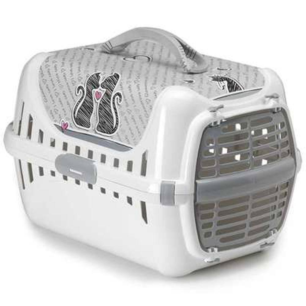 Caixa de transporte P Moderna Pets - Branca e Cinza - Cats in love