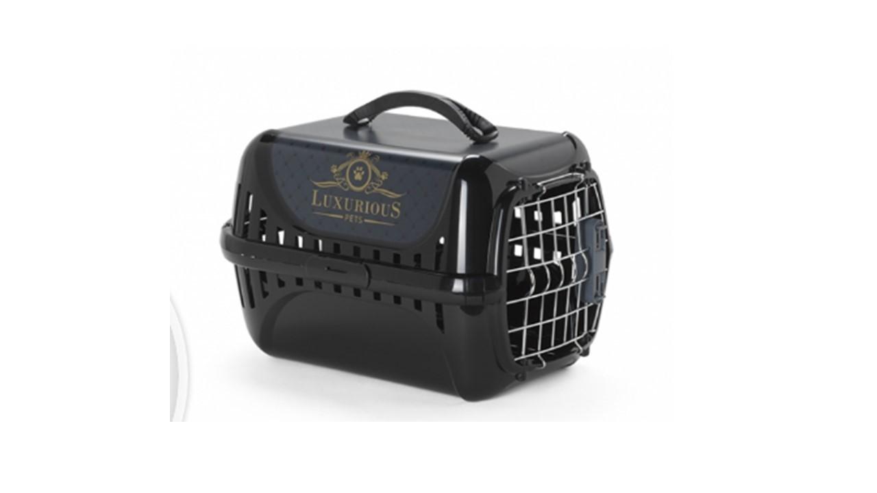 Caixa de transporte P - Morderna Pet - Cor Preta - Linha Luxurius