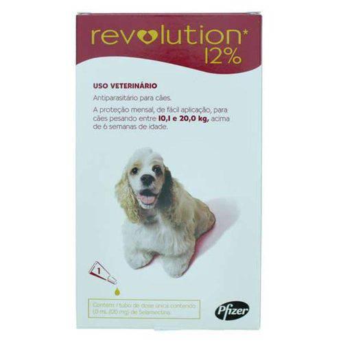 Revolution 12% para cães de 10,1 a 20kg 1,0ml - Controle pulgas, carrapatos e sarnas