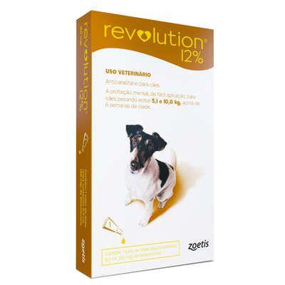 Revolution 12% para cães de 5,1 a 10,0kg 0,5ml - Controle pulgas, carrapatos e sarnas