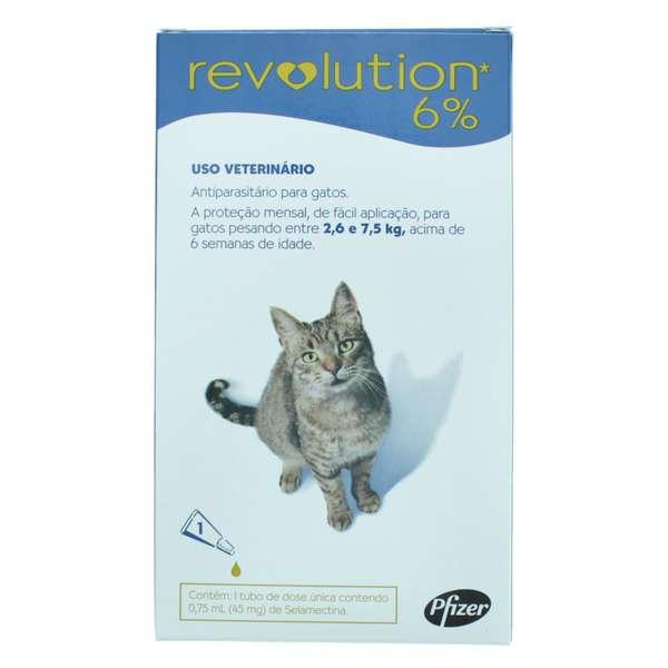 Revolution 6% para gatos de 2,6 a 7,5kg - Controle pulgas, carrapatos e sarnas de uma vez - 0,75ml