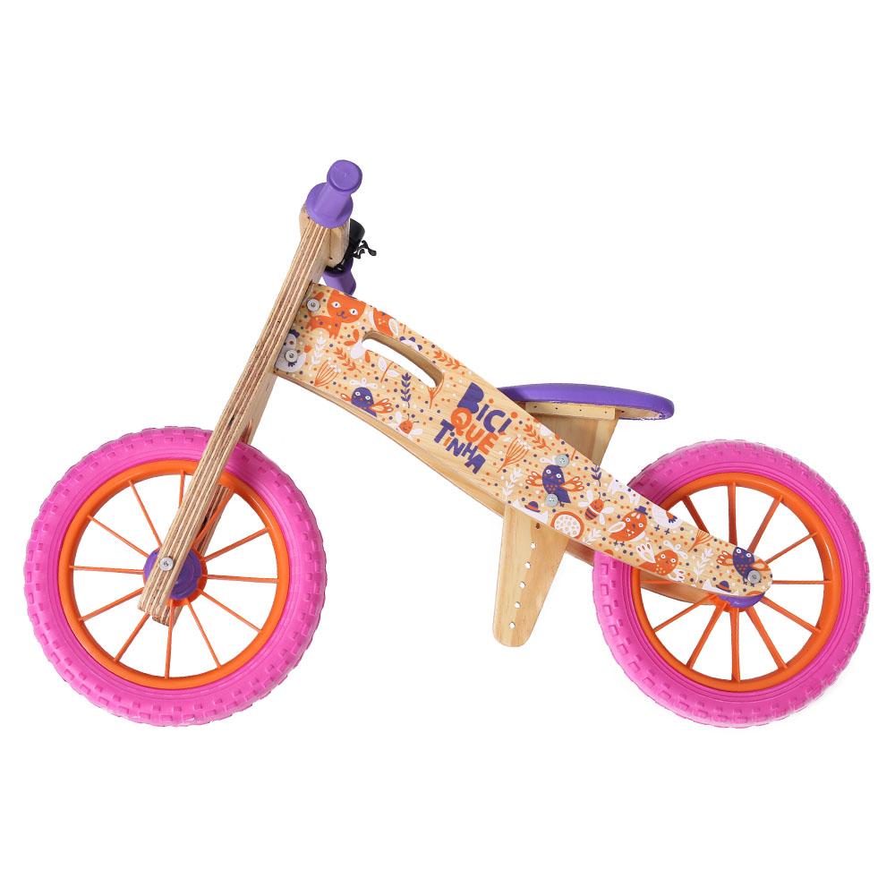 Bicicleta de Equilíbrio Biciquetinha Animais Rosa Laranja