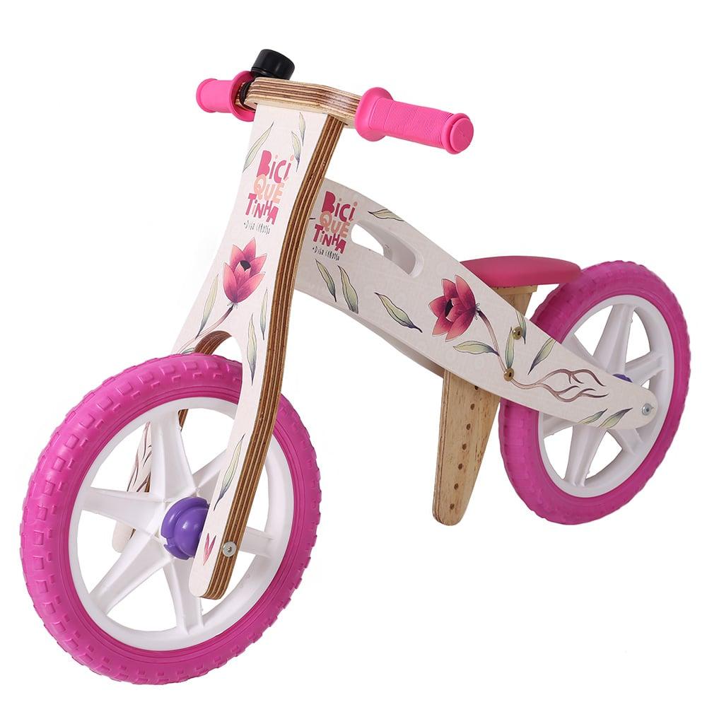 Bicicleta de Equilíbrio Grafite Biciquetinha  Flores