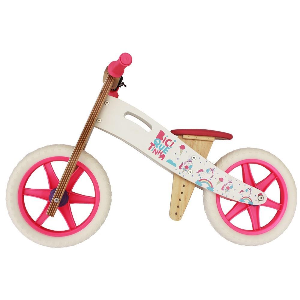 Bicicleta de Equilíbrio  Biciquetinha Unicórnio Branco Pink