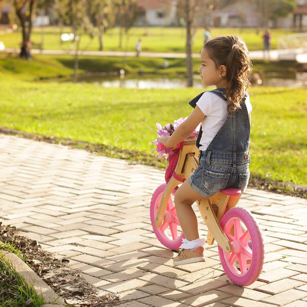 Bicicleta de Equilíbrio Biciquetinha Lenho Rosa