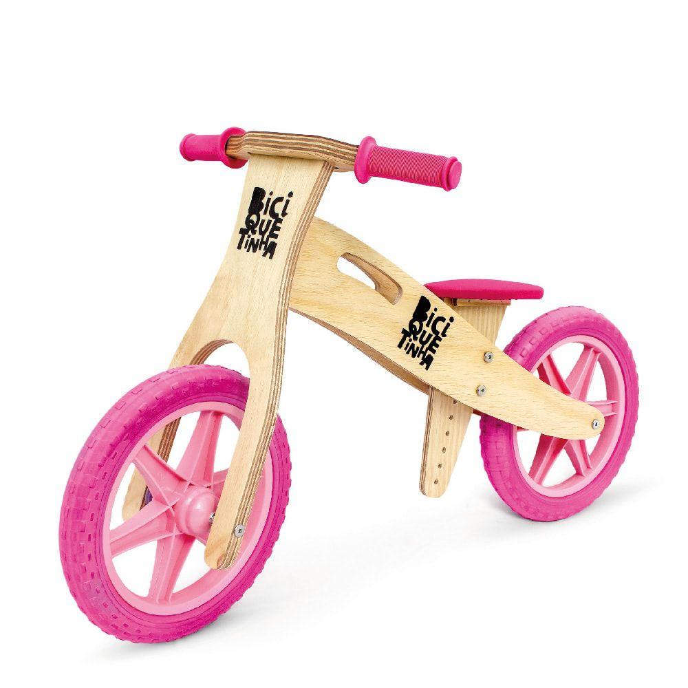 Bicicleta de Equilíbrio sem Pedal Wooden Rosa