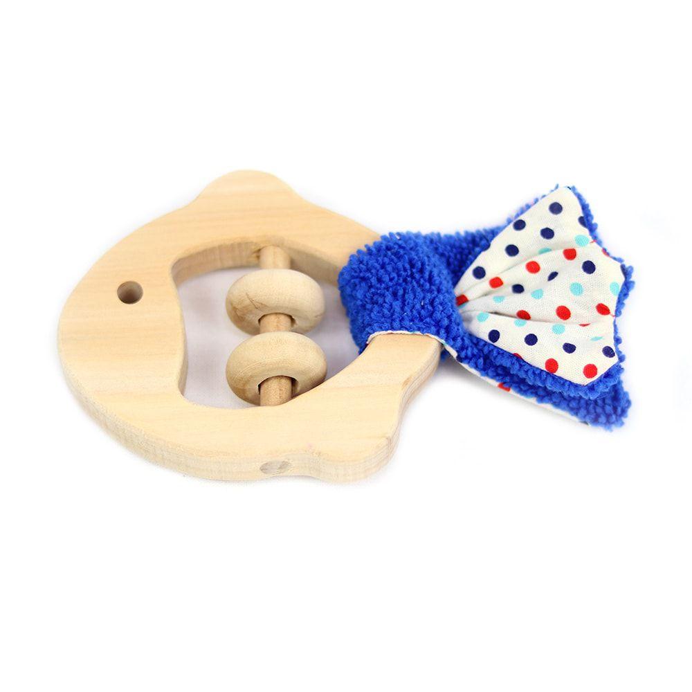 Brinquedo Sensorial Bebê Lume Peixe cauda azul com bolinhas azuis e vermelhas