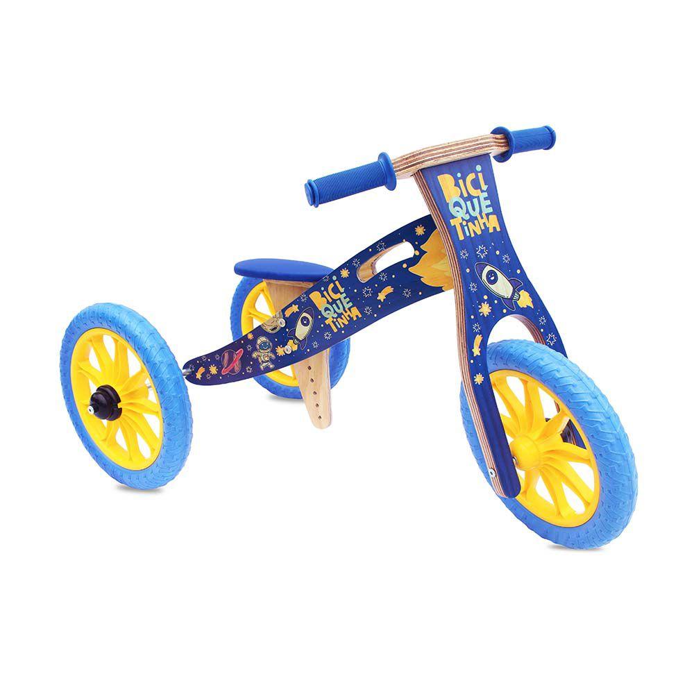 Triciclo 2 em 1 Azul (vira bicicleta de Equilíbrio) ASTRONAUTA