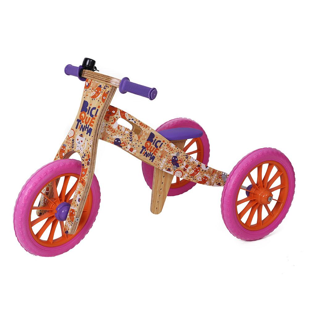 Triciclo 2 em 1 Biciquetinha Animais Rosa Laranja