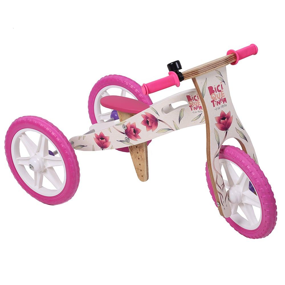 Triciclo 2 em 1 Grafite Biciquetinha Flores
