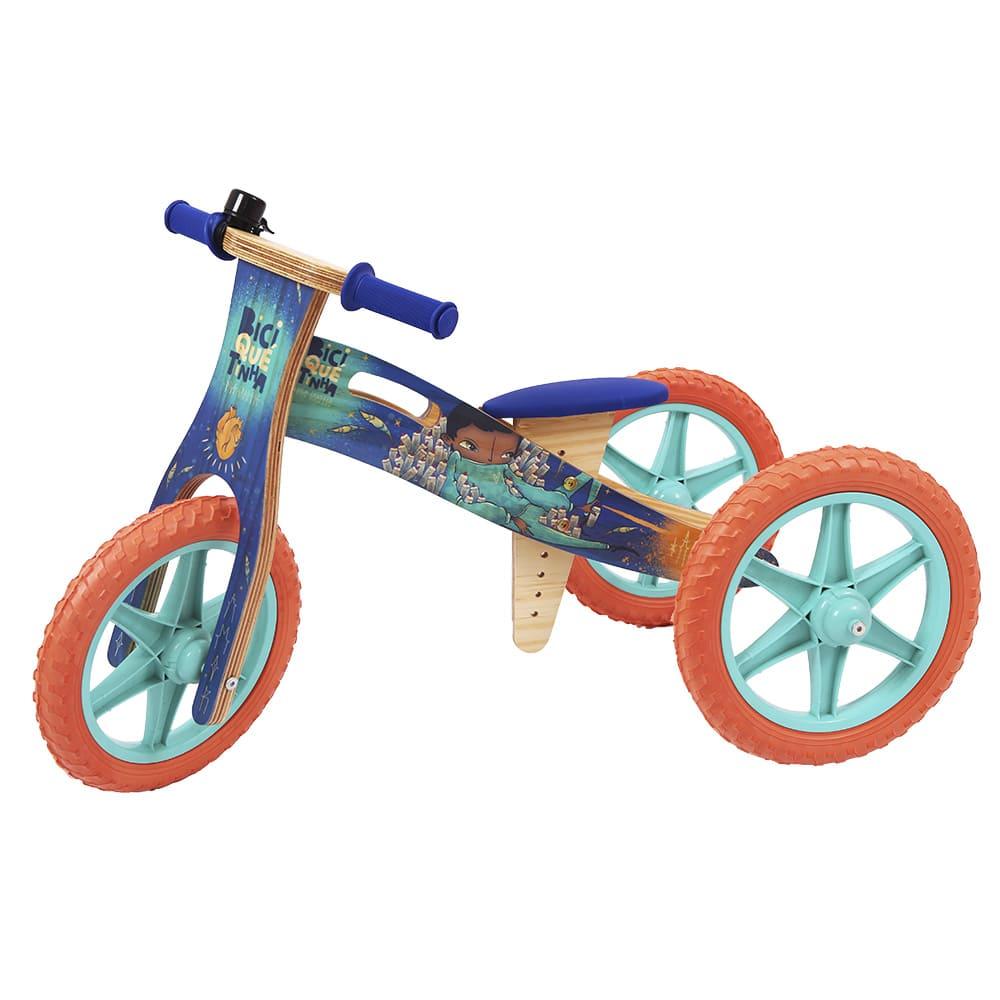 Triciclo 2 em 1 Grafite Biciquetinha Sonhar Ciano