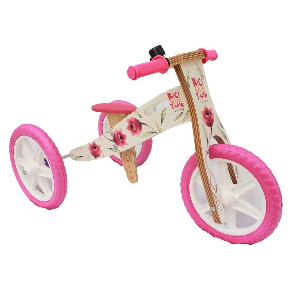 Triciclo 2 em 1 (vira bicicleta de Equilíbrio) DIGO + BICIQUETINHA FLORES