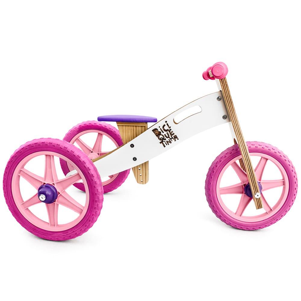 Triciclo 2 em 1 (vira bicicleta de Equilíbrio) NEVE ROSA
