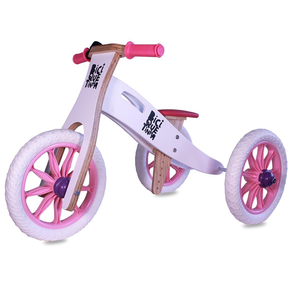 Triciclo 2 em 1 Biciquetinha Neve Rosinha