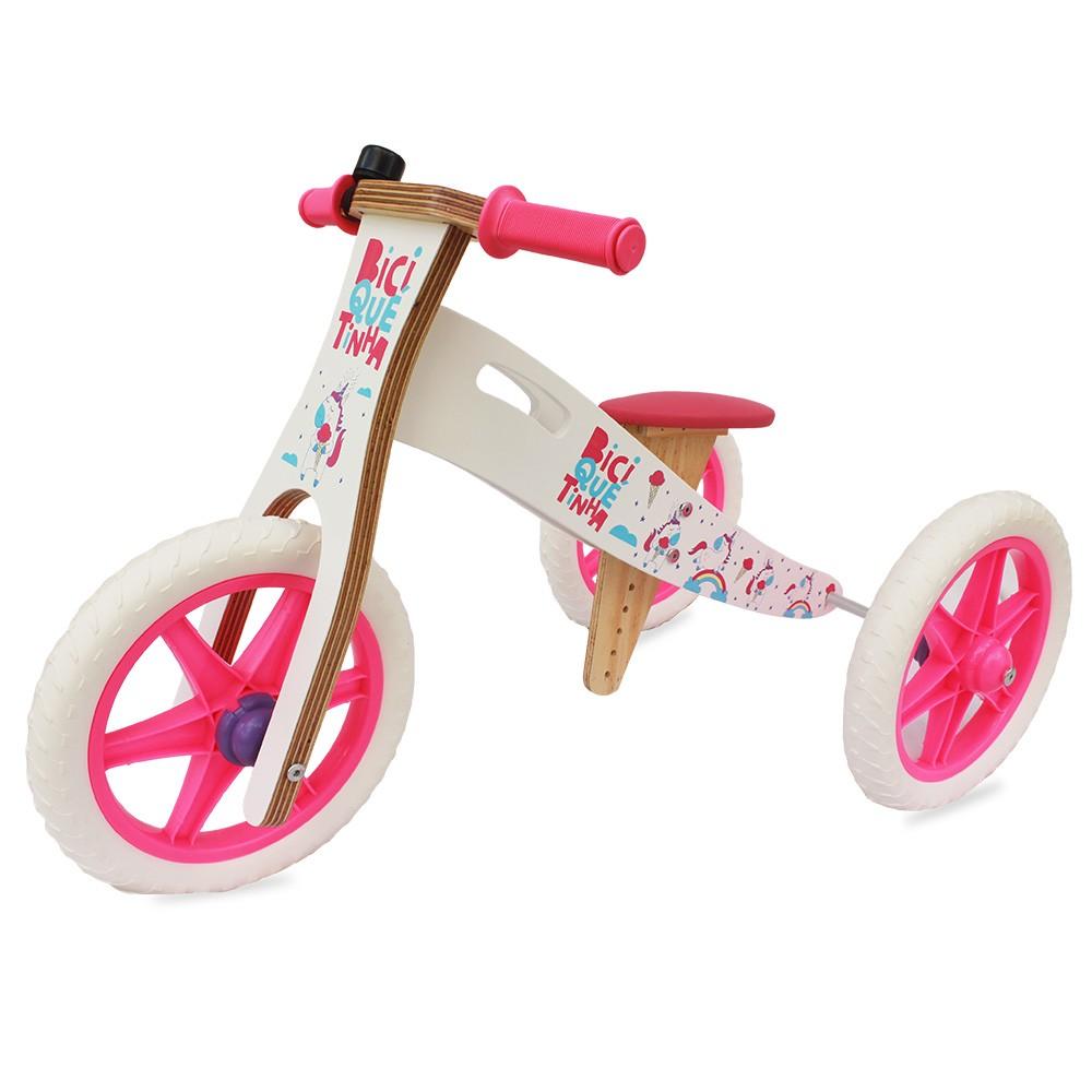 Triciclo 2 em 1  Biciquetinha Unicórnio Branco Pink