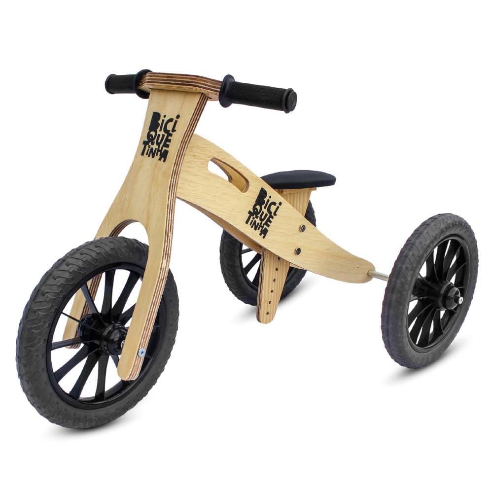Triciclo 2 em 1 (vira bicicleta de Equilíbrio) Lenho Preto