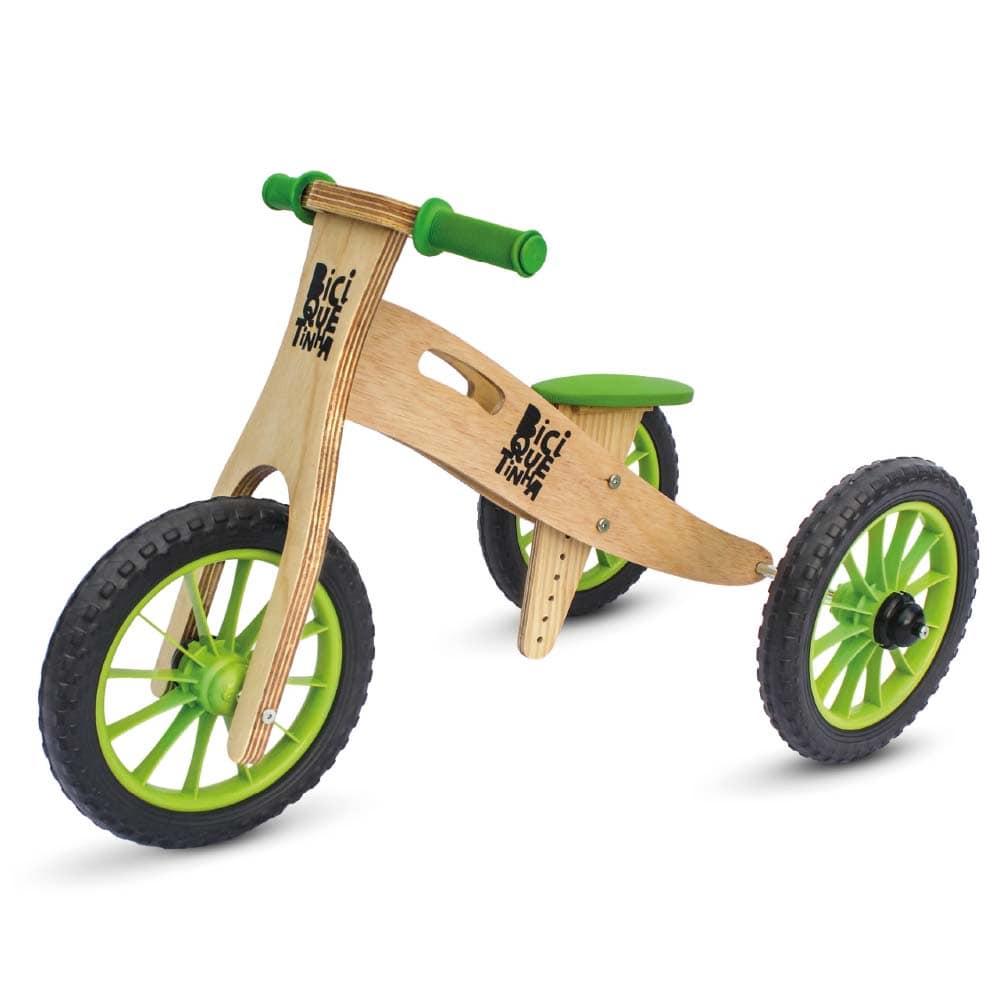 Triciclo 2 em 1 (vira bicicleta de Equilíbrio) Lenho Verde