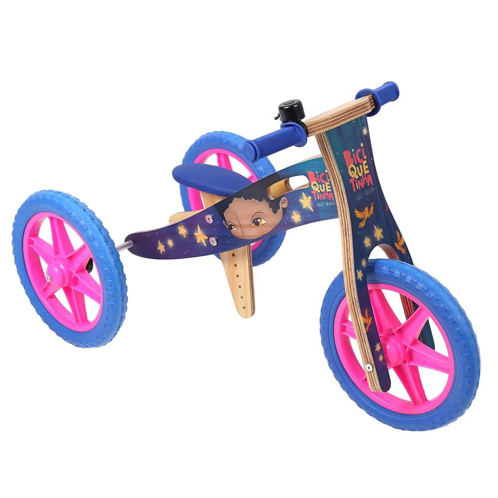 Triciclo 2 em 1 Grafite Biciquetinha Vice-Versa Azul
