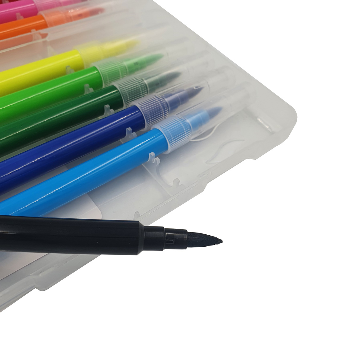 12 Canetas Hidrográficas Brush Pen Coloridas com estojo