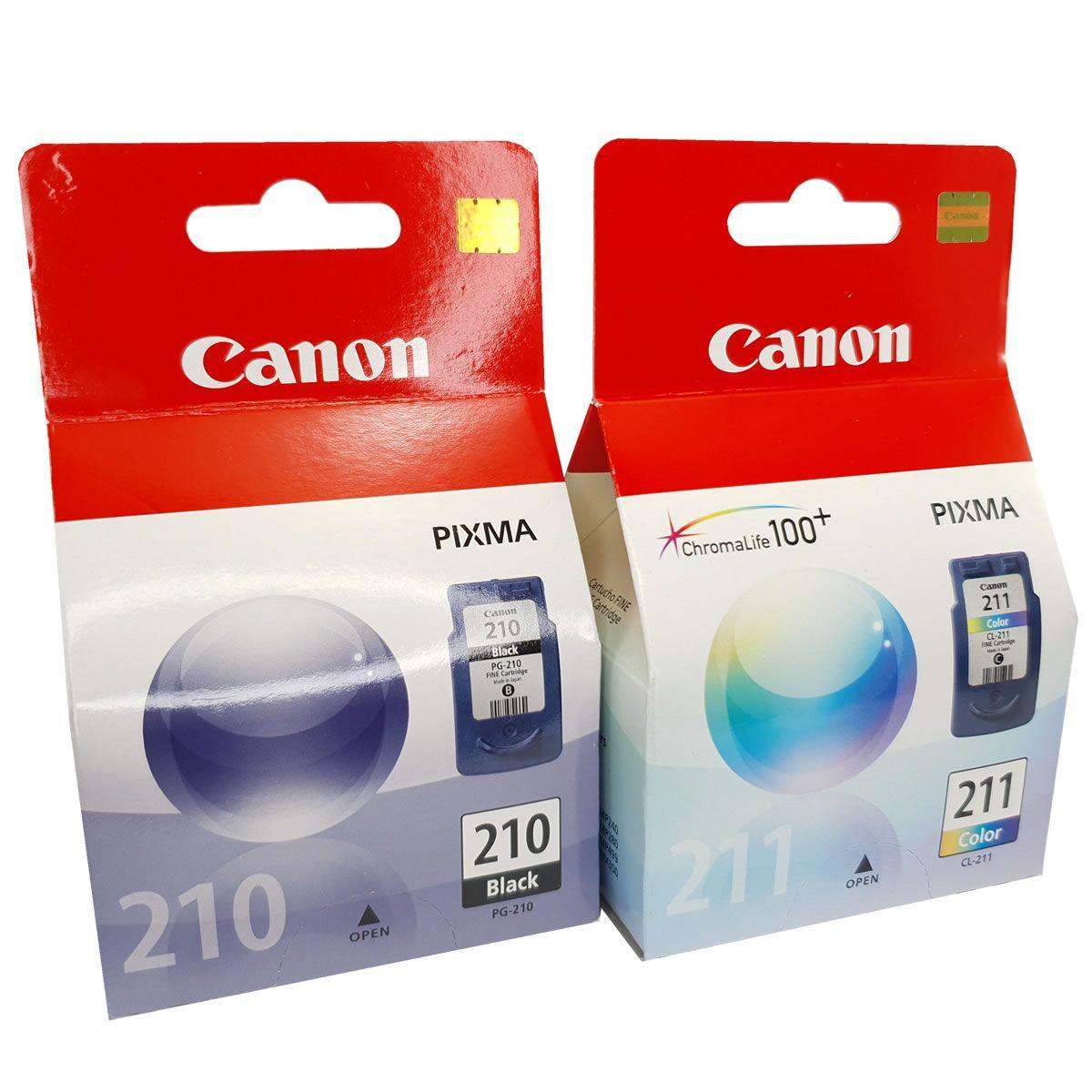 2 cartuchos Canon PG210 preto e CL211 colorido para MP240 MP250 MP260 MP490