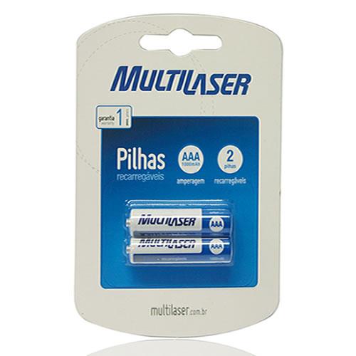 Pilha Recarregáveis AAA 1000mAH Multilaser pacote com  2 pilhas CB051
