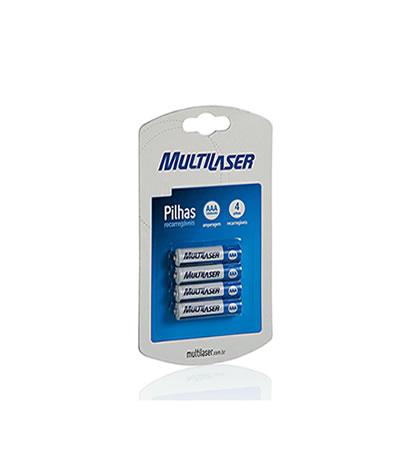 Pilha Recarregáveis AAA 1000mAh Multilaser pacote com 4 pilhas  CB050