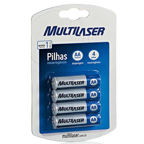 Pilha Recarregáveis AA 2500mAH Multilaser pacote com 4 pilhas CB052