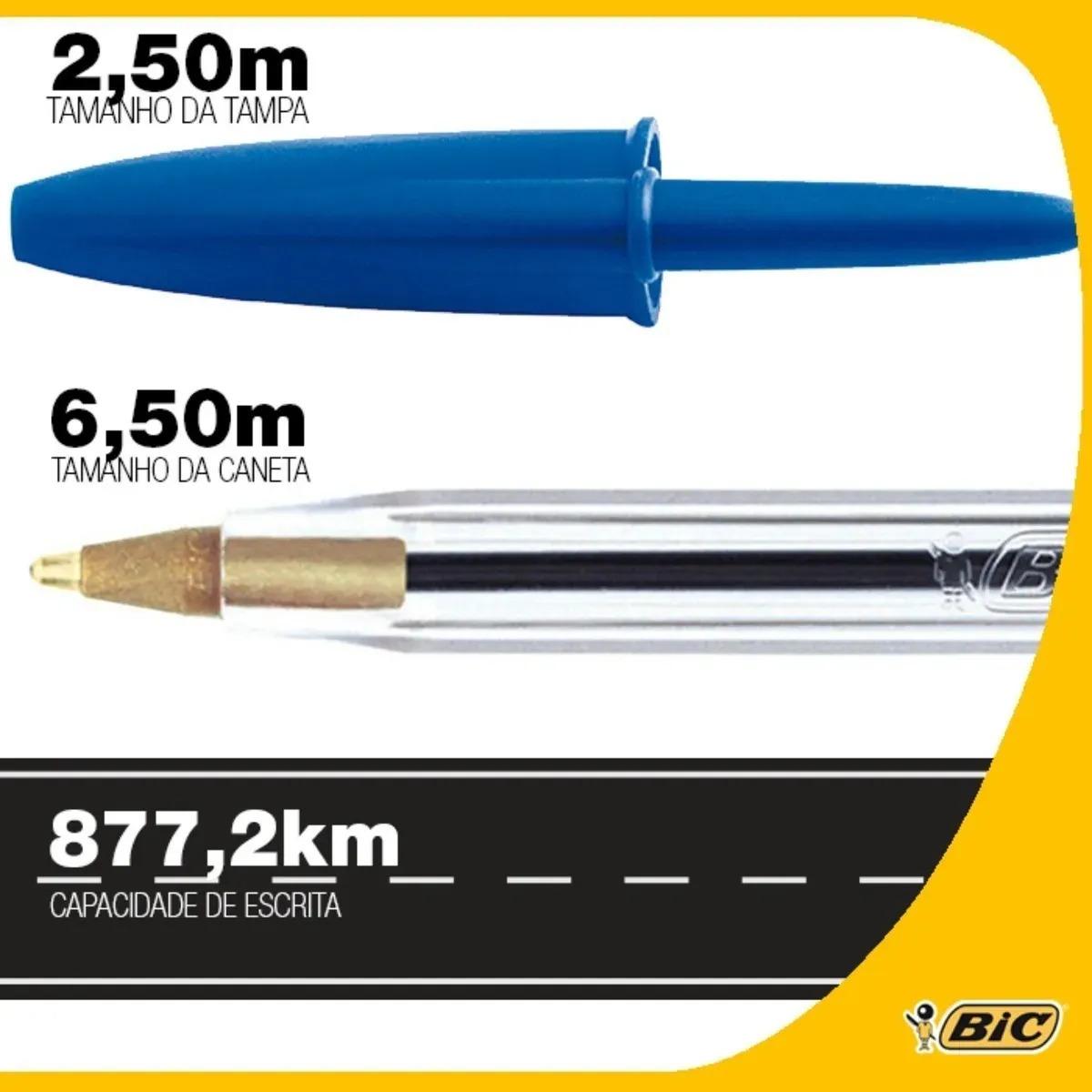 Caneta BIC Cristal Esferográfica Azul Fina 0.8mm Caixa Com 50 Unidades
