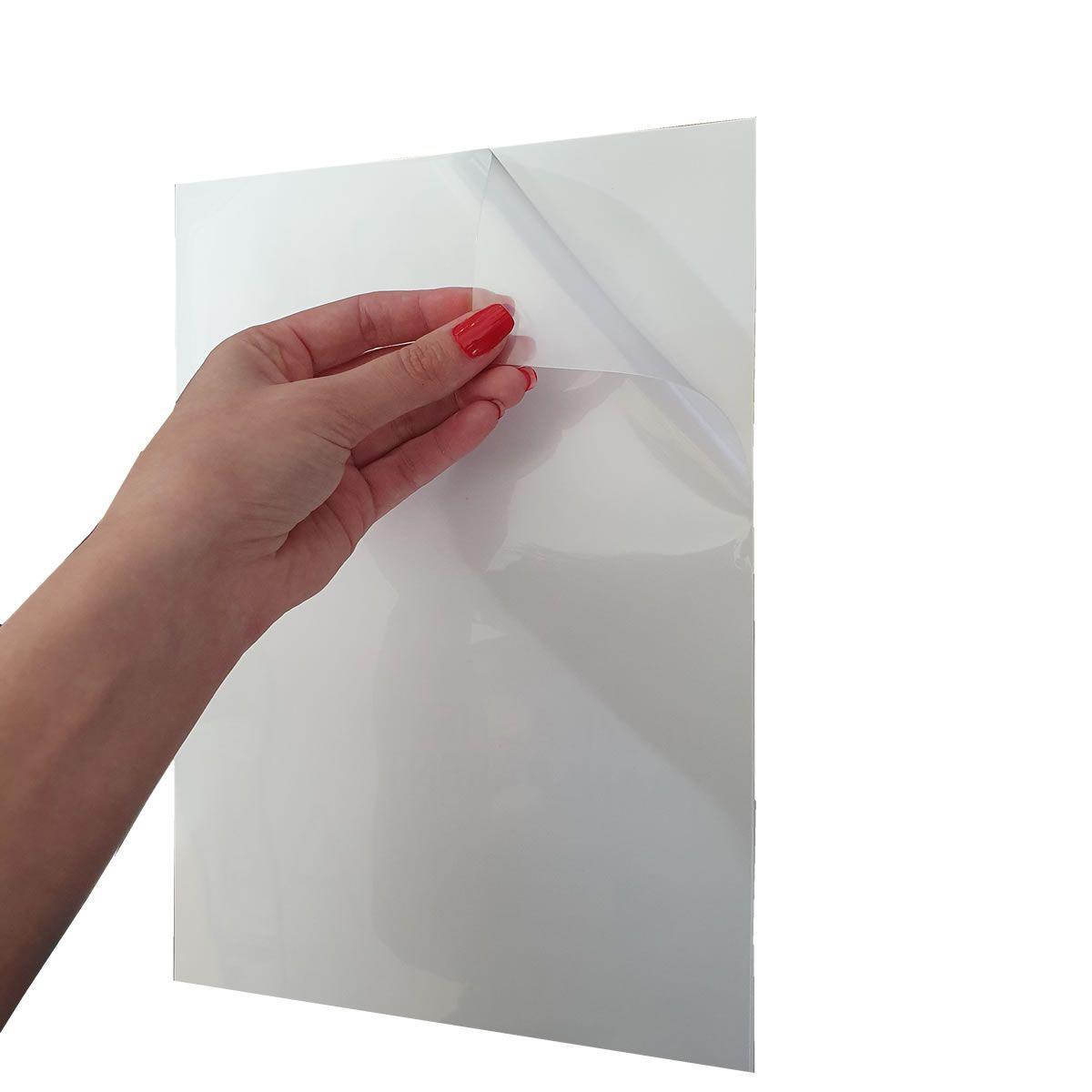 60 Folhas Papel Adesivo Vinil Transparente para Jato de Tinta Inkjet 115g 20fls Evolut