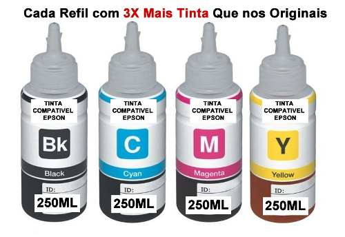 Kit 6 Refil Tinta 250ml Foto Para Epson L200 L355 L100 L800 T50