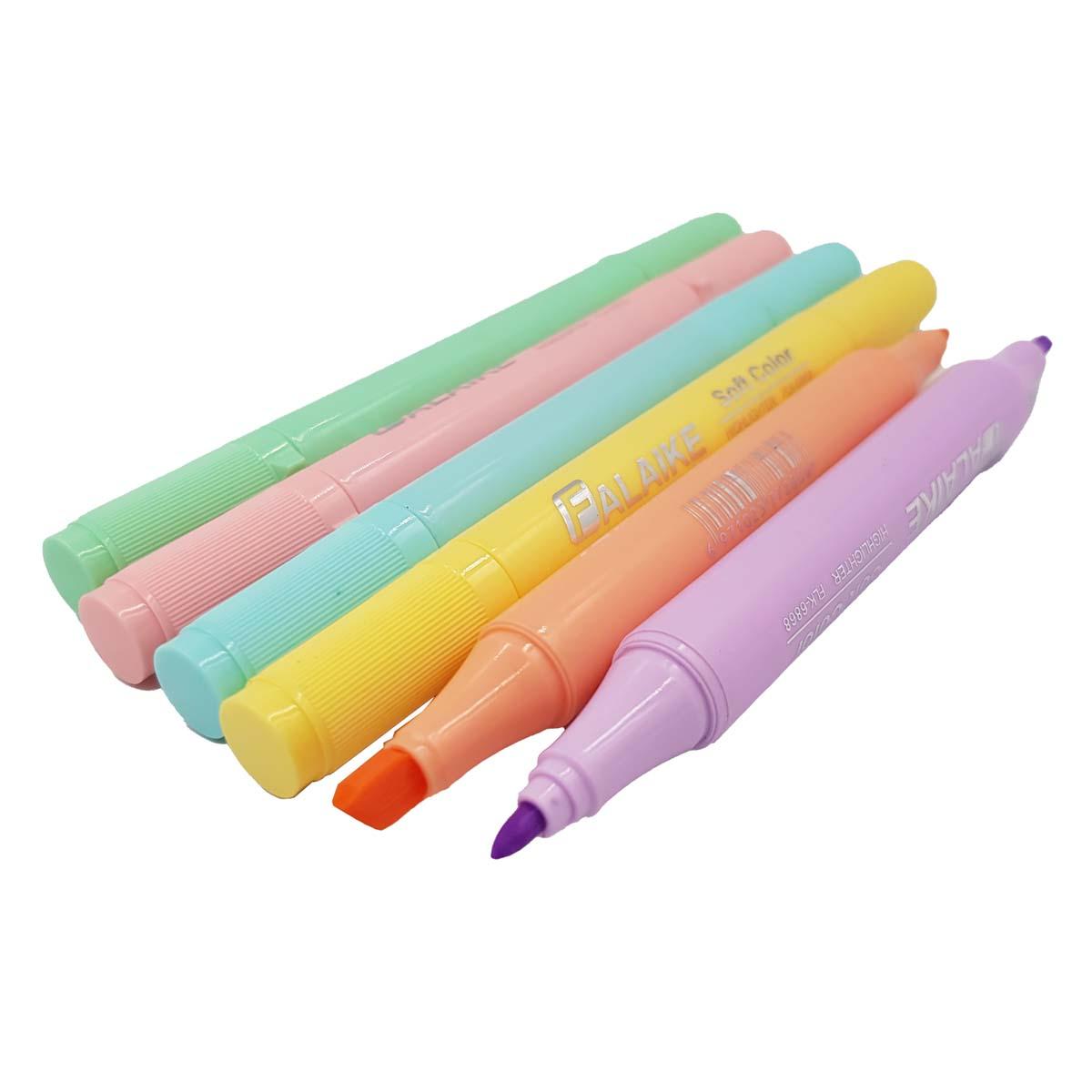 6 Canetas Duas Pontas Dual Pen Cores Pastel Marca texto HIGHLIGHTER Marker