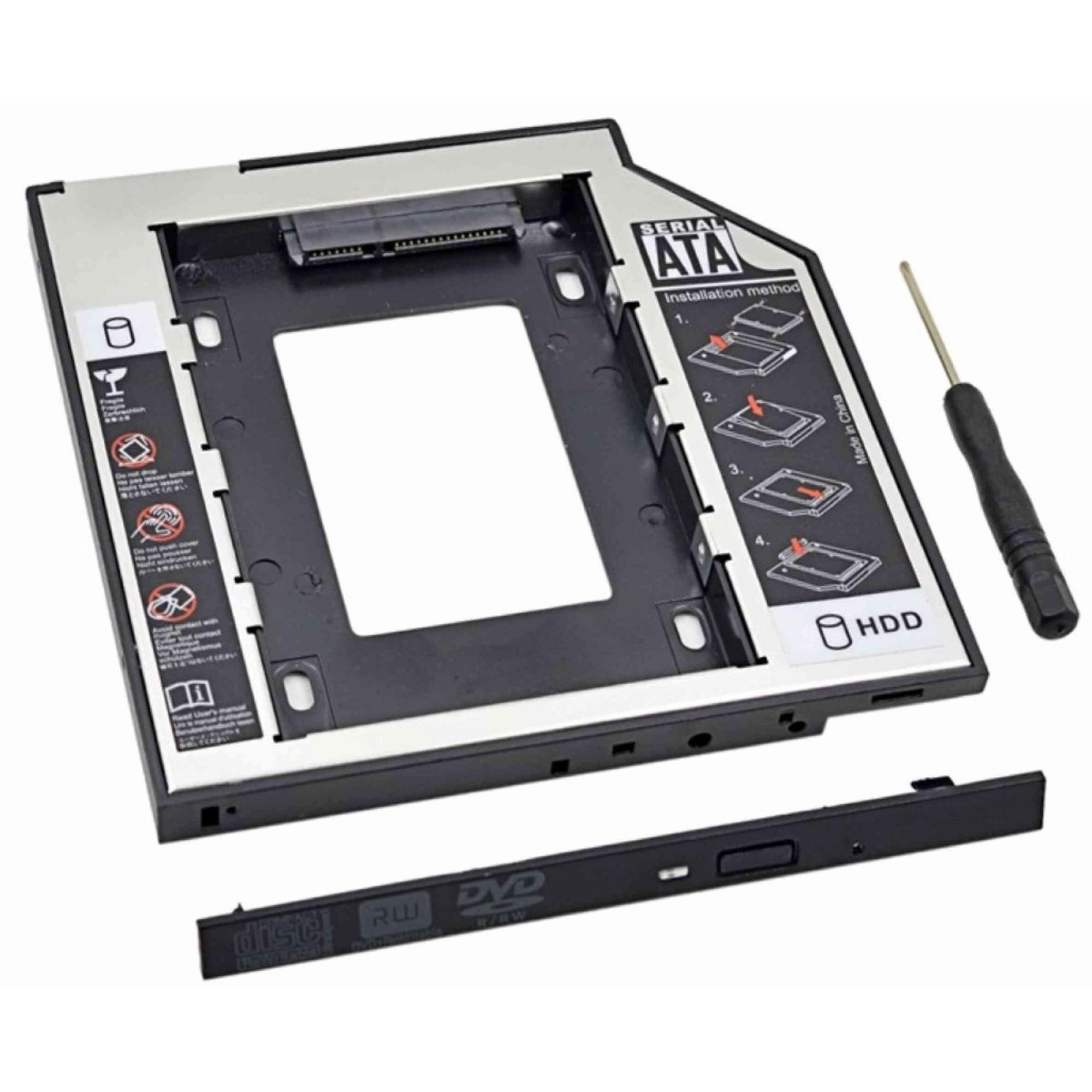 Adaptador Baia Caddy DVD para Segundo HD ou SSD 2.5 Sata 12.5mm CS-05 TSA