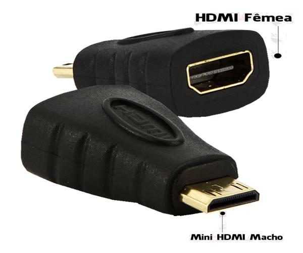 Adaptador Conversor HDMI Femea para Mini HDMI Macho