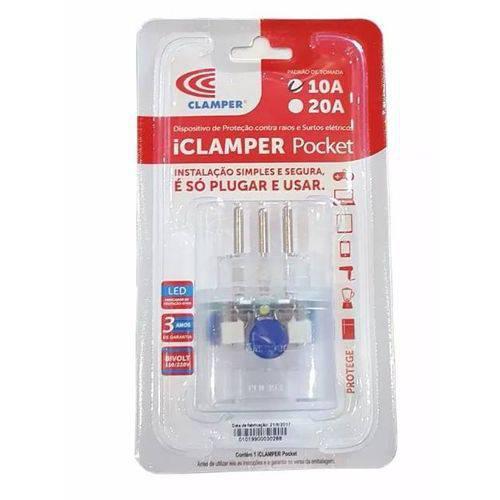 Tomada com Proteção Contra Raios Padrão 10A 3 Pinos Pocket iClamper