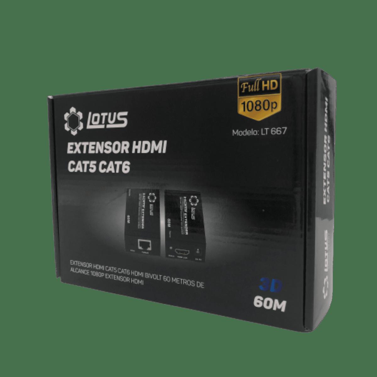 Adaptador Extensor HDMI CAT.5 CAT.6 60m 1080p LT-667 Lotus